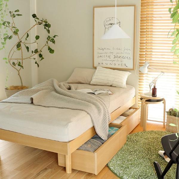 ベッド 深型 収納付きベッド NOANA ヘッドレスタイプ シングル ゴールドプレミアム ポケットコイル マットレス付き 送料無料