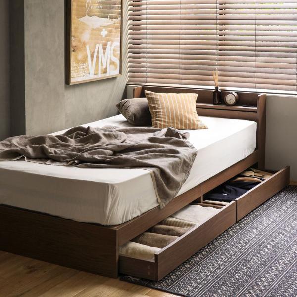 ベッド 収納 収納付き Sosie シングル サイズ ナノテックプレミアム ポケットコイル マットレス ピロートップ付き レトロ ナチュラル 木製 送料無料 即日出荷可能