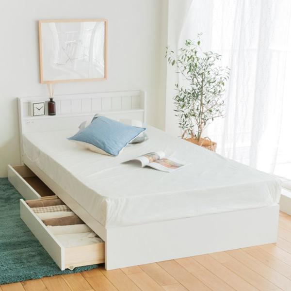ベッド 収納付きベッド LEAP シングル ナノテックプレミアム ポケットコイル マットレス付き 送料無料【夜間お届け不可】