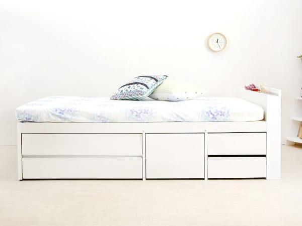 ベッド 収納付きベッド 大容量 WELLA セミダブル ポケットコイル マットレス付きシンプル ホワイト 木製 送料無料【時間指定不可】