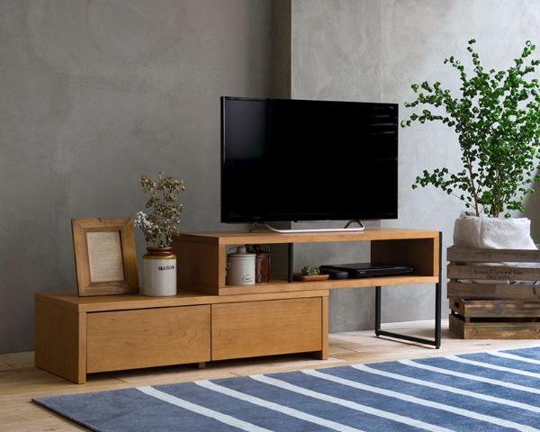 テレビ台 伸縮 テレビボード CINERARIA サイネリア ヴィンテージ 西海岸 ブラウン 木製 アイアン 32型 40型 完成品 おしゃれ 送料無料 即日出荷可能
