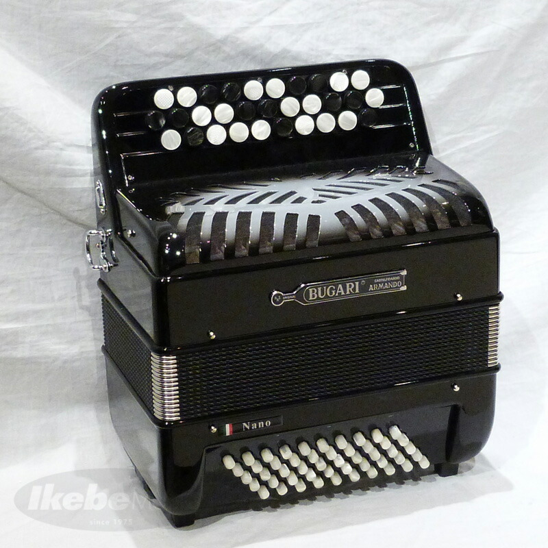 BUGARI Nano BK【ブラック】【最小・最軽量・超コンパクトボタン式アコーディオン】【受注生産品】