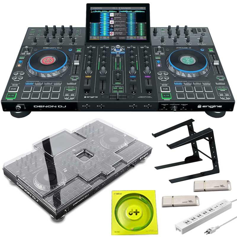 DENON PCスタンド セット + DJ 4 Prime 【今なら本体保護カバー&USBメモリ&高品質USBケーブル&電源タッププレゼント!】