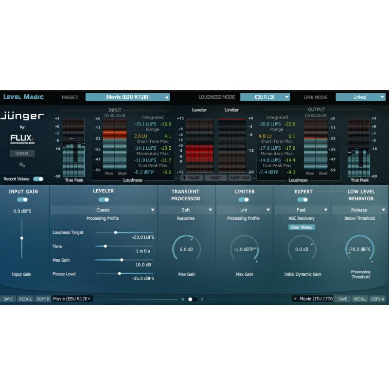 FLUX::Junger Audio Level Magic Stereo【オンライン納品専用】※代金引換、後払いはご利用頂けません。