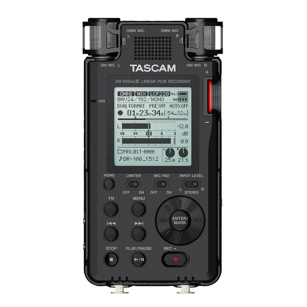 S/N100dB超、 業務用ステレオリニアPCMレコーダー最上位機種。 TASCAM DR-100MKIII