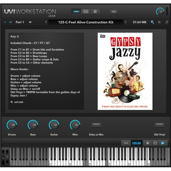 UVI Gypsy Jazzy(オンライン納品専用)※代金引換はご利用頂けません。【送料無料】