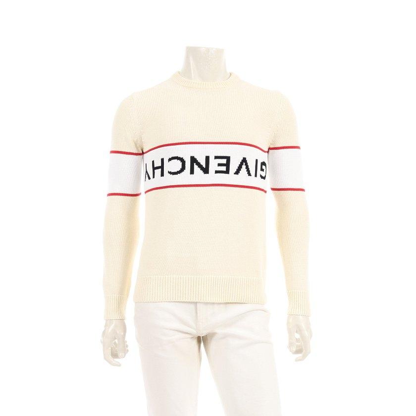 ジバンシィ GIVENCHY ロゴ セーター ニット コットン アイボリー 白 黒 赤 BM9063401M 【メンズ】【中古】【送料無料】
