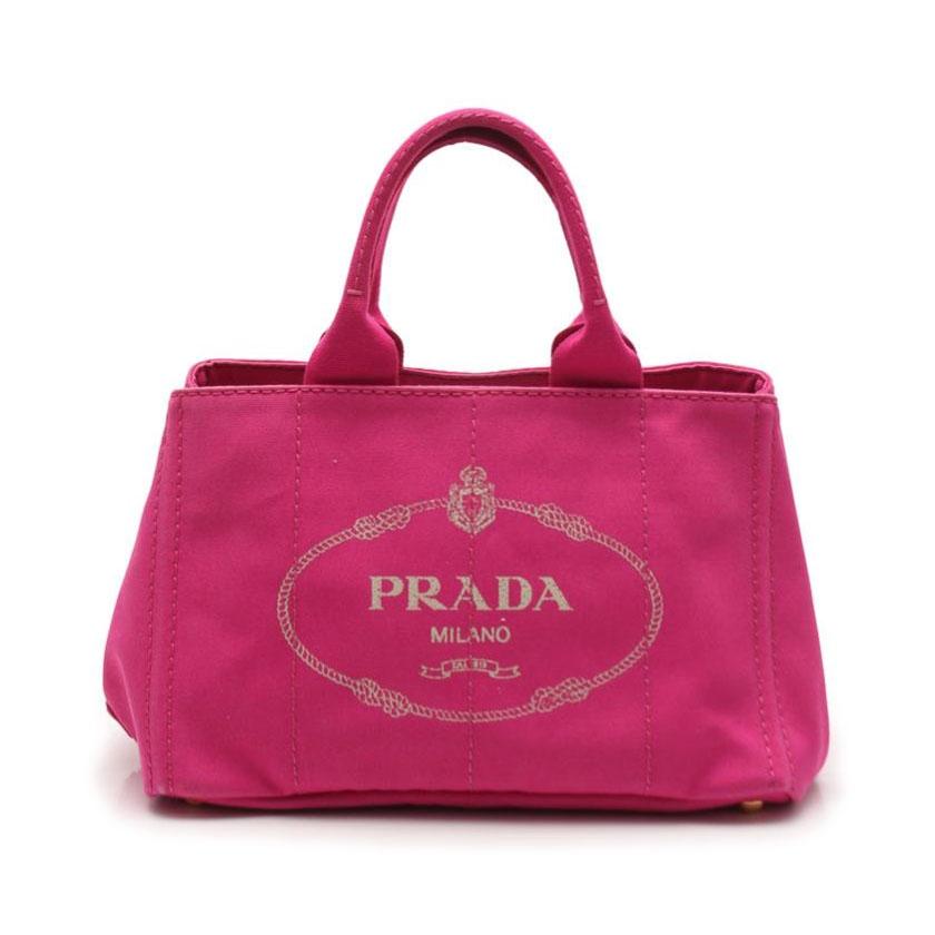 プラダ PRADA CANAPA カナパ トートバッグ キャンバス ピンク 【レディース】【中古】【送料無料】