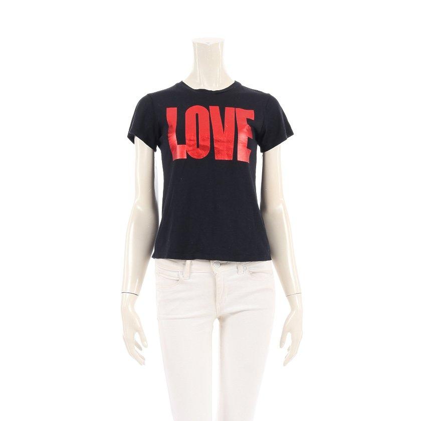 【11%OFFクーポン&P10倍】ジバンシィ GIVENCHY LOVE Tシャツ カットソー クルーネック 黒 赤 キッズ 【レディース】【中古】【送料無料】