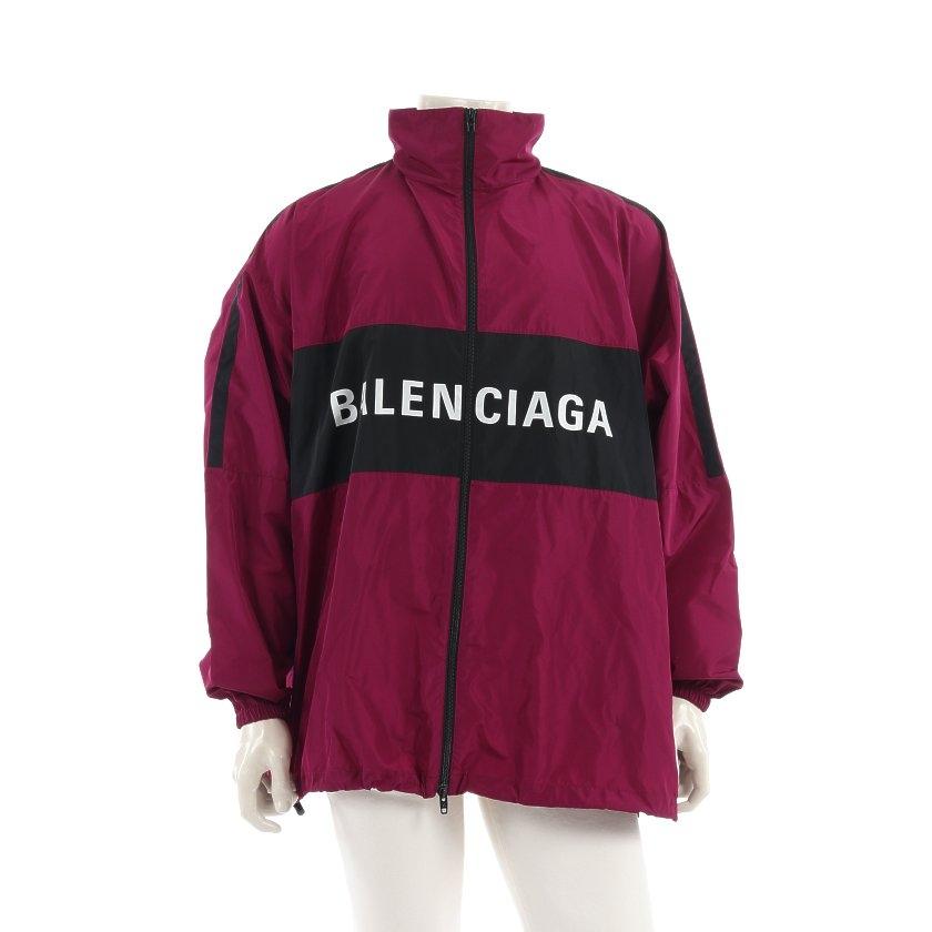 【10%OFFクーポン対象商品】バレンシアガ BALENCIAGA トラックジャケット ナイロンジャケット 紫 黒 白 ロゴ 20SS 534317 【メンズ】【中古】【送料無料】