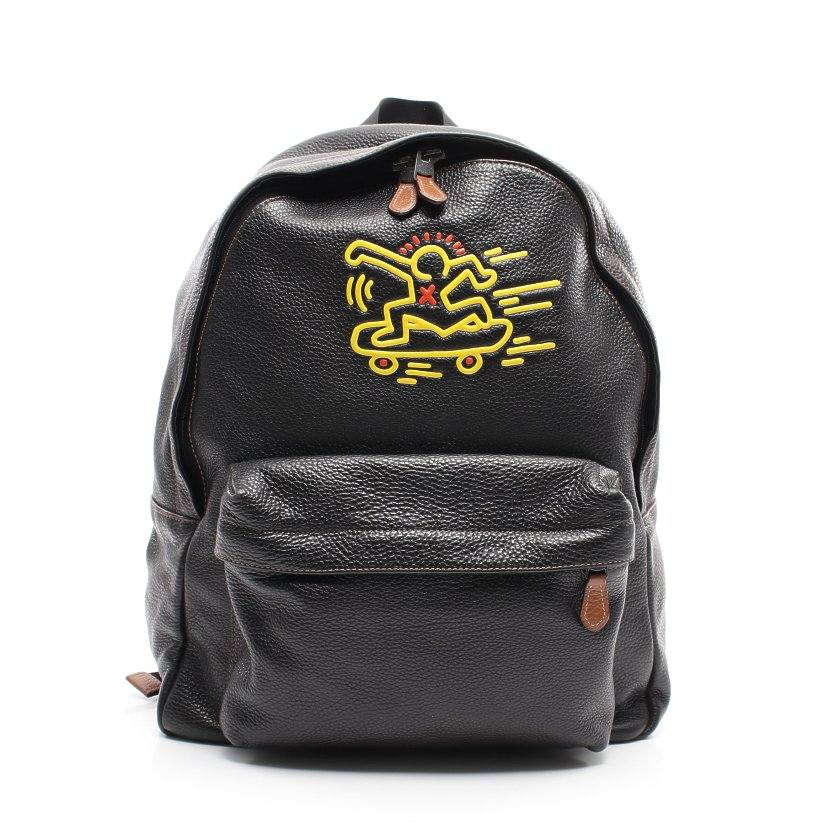 コーチ COACH COACH × Keith Haring チャールズ リュックサック バックパック レザー 黒 黄色 F11716 【メンズ】【中古】【送料無料】