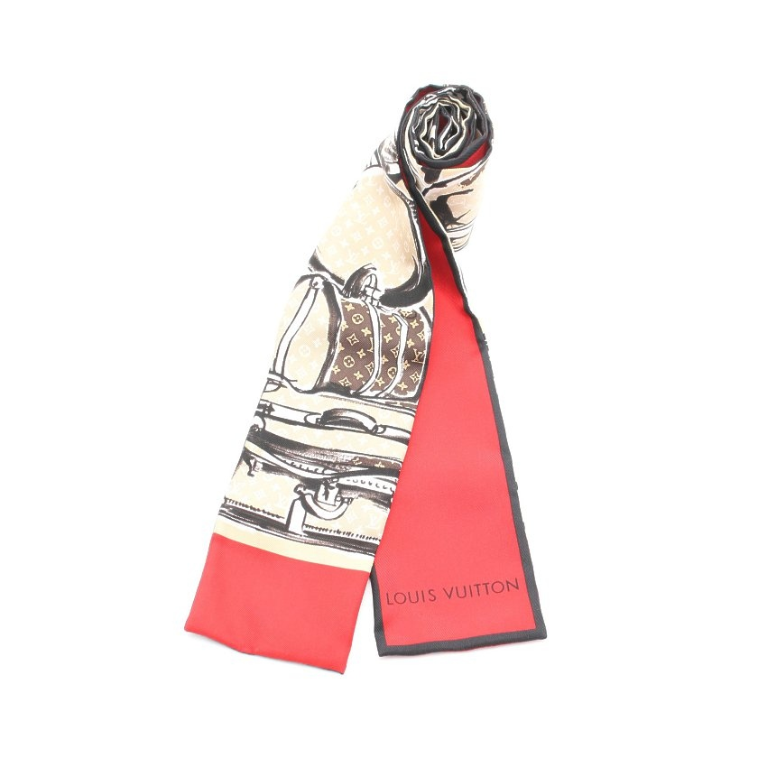 ルイ・ヴィトン LOUIS VUITTON バンドー トランク リボンスカーフ シルク ベージュ 黒 赤 M73964 【レディース】【中古】【送料無料】