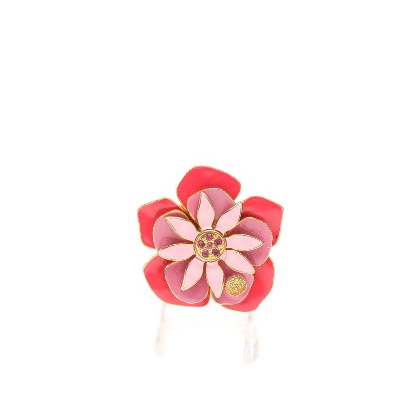 ヴェルサーチ Versace リング 指輪 カラーストーン ゴールド 赤 ピンク フラワーモチーフ 【レディース】【中古】【送料無料】