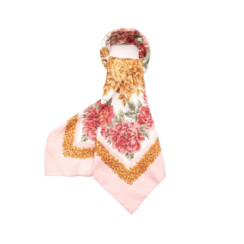 クリスチャンディオール Christian Dior スカーフ 花柄 シルク ピンク 茶色 白 【レディース】【中古】【送料無料】