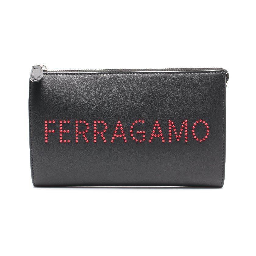 サルヴァトーレ・フェラガモ Salvatore Ferragamo クラッチバッグ レザー 黒 赤 ロゴ 24 A121 【レディース】【中古】【送料無料】