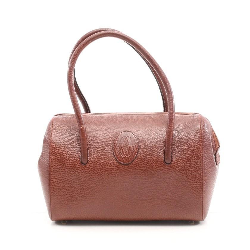 カルティエ Cartier ミニボストン ハンドバッグ レザー 茶色 ロゴ 【レディース】【中古】【送料無料】