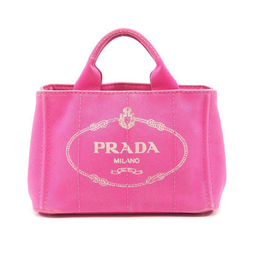 プラダ PRADA CANAPA カナパ トートバッグ デニム ピンク BN2439 【レディース】【中古】【送料無料】