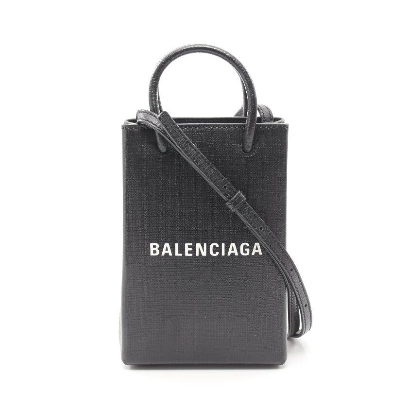 【11%OFFクーポン&P5倍】バレンシアガ BALENCIAGA SHOPPING PHONE HOLDER フォンフォルダー ショルダーバッグ レザー 黒 白 2WAY 593826 【レディース】【送料無料】:RECLO(リクロ)店