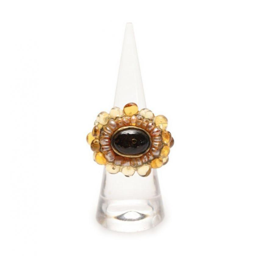 シャネル CHANEL リング 指輪 カラーストーン ゴールド 黄色 マルチカラー 00A 【レディース】【中古】【送料無料】