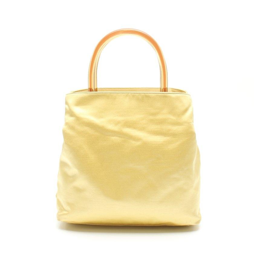 送料無料 中古 ブランド リクロ reclo レディース <セール&特集> 女性 プラダ 黄色 B8220 プラスチックハンドル 人気ブレゼント ハンドバッグ サテン PRADA RASO+PLEX
