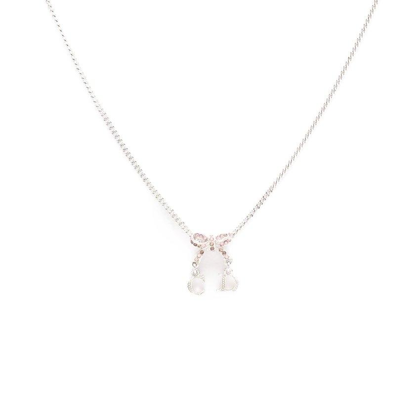 クリスチャンディオール Christian Dior ネックレス シルバー ロゴ ラインストーン リボン 【レディース】【中古】【送料無料】
