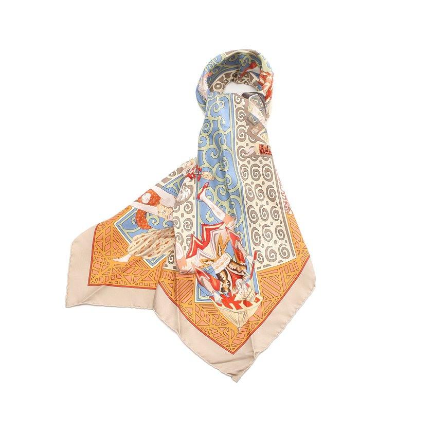 【最安値挑戦】 エルメス HERMES カレ90「LES BALLETS RUSSES」 スカーフ シルク グレーベージュ マルチカラー 【レディース】【送料無料】, Funky-Angel ccaf9914
