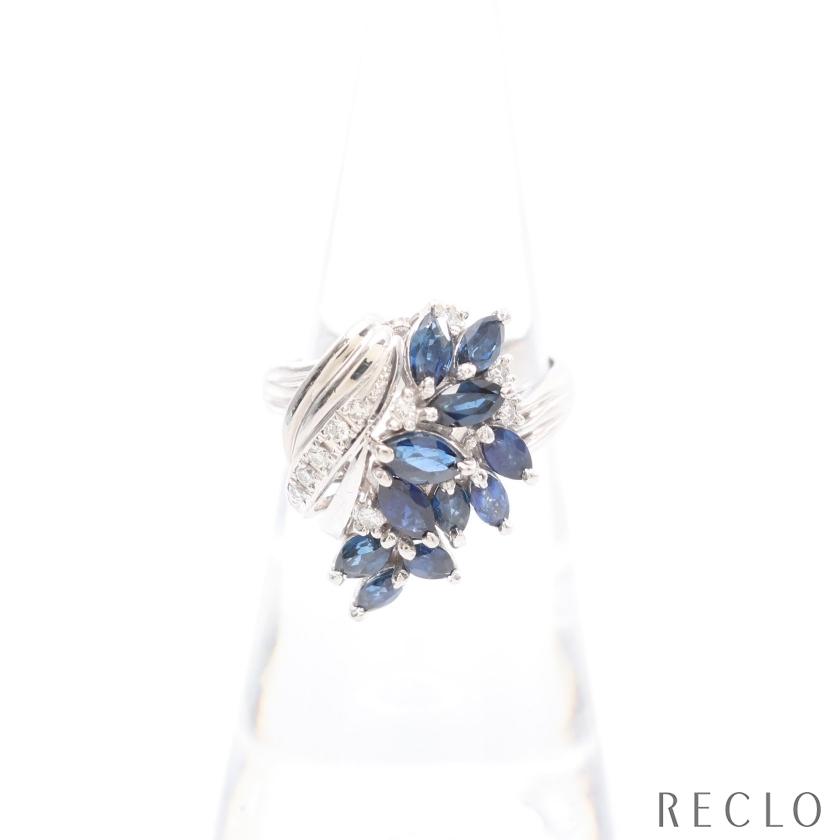 セール特別価格 送料無料 ノーブランドジュエリー リング 当店一番人気 指輪 PT900 中古 ブルー ダイヤモンド0.12ct プラチナ サファイア1.72ct