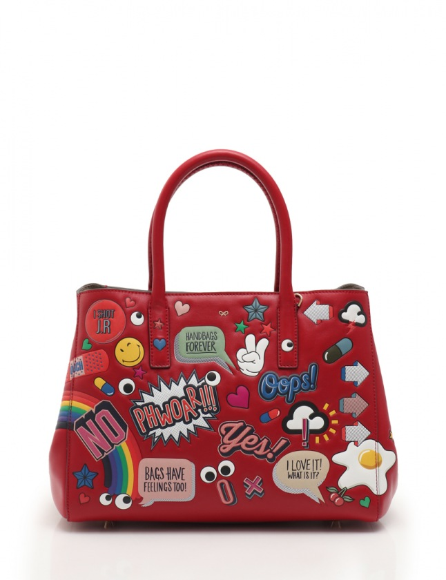 a8c838a99bb9 アニヤハインドマーチ ANYA HINDMARCH EBURY SMALL FEATHERWEIGHT ALL OVER WINK STICKERS  トートバッグ レザー 赤 マルチカラー 【中古】, ...