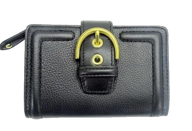 【送料無料】COACH/コーチ レザー 二つ折り財布【中古】
