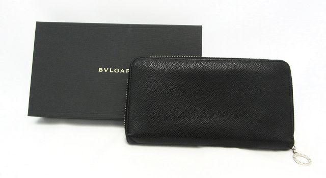 【送料無料】BVLGARI/ブルガリ グレインレザー ラウンドファスナー長財布 【中古】