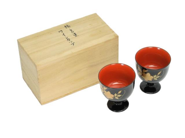 送料無料 未使用品 輪光堂 輪島塗 天然木ワインカップ ペア 中古