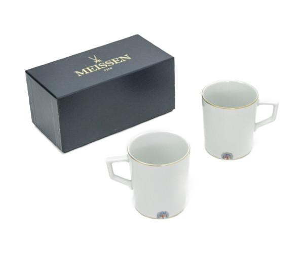 送料無料 未使用品 Meissen/マイセン ノーブルブルー マグカップ ペア 中古