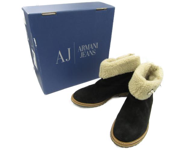 【送料無料】 ARMANI JEANS/アルマーニ ジーンズ ショート ムートンブーツ (約24.5cm) 中古