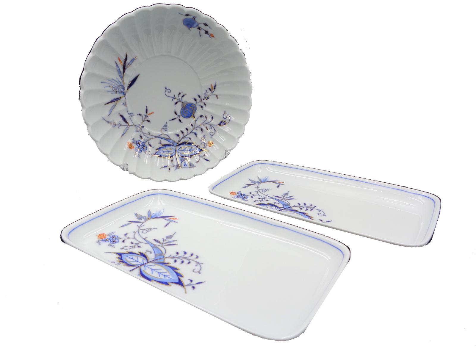 送料無料 Meissen マイセン カラーオニオン ボウル&スクエアプレート セット ギフト 洋食器 皿 中古
