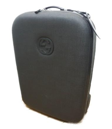 グッチ キャリーバッグ 鞄 高級 ブランド おしゃれ 旅行 かわいい sサイズ 黒 レザー GUCCI 中古 ブラック お見舞い 189754 送料無料 PVC トラベルキャリー