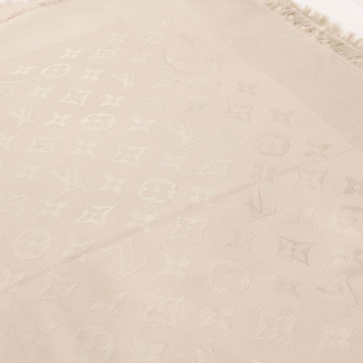 【中古】良好☆LOUIS VUITTON ルイヴィトン シルク混 大判ストール☆  グレージュ/グレー/ベージュ/モノグラム/ロゴ/スカーフ/秋/冬/16650-SF1018