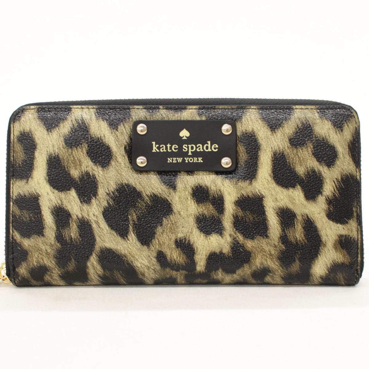 【中古】未使用品 kate spade ケイトスペード ラウンドファスナー 長財布 レオパード柄 WLRU1861 leopard grainy vinyl leopard(983) 18100-CH1118
