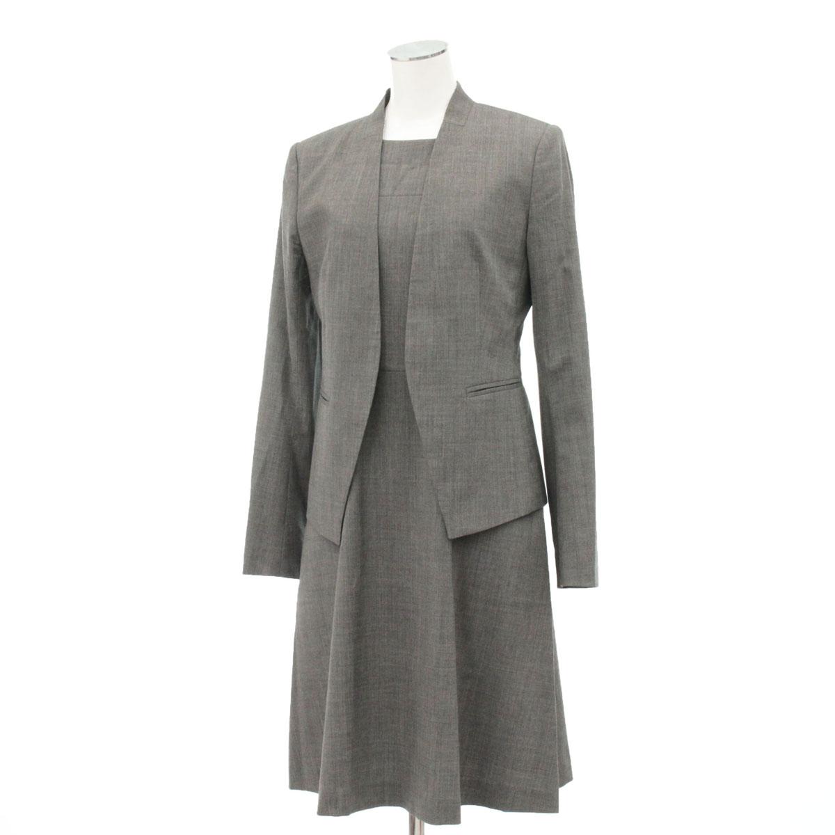 【中古】★セオリー ノーカラージャケット&スカートスーツ サイズ2★  グレー/ウール/18462-CH1118