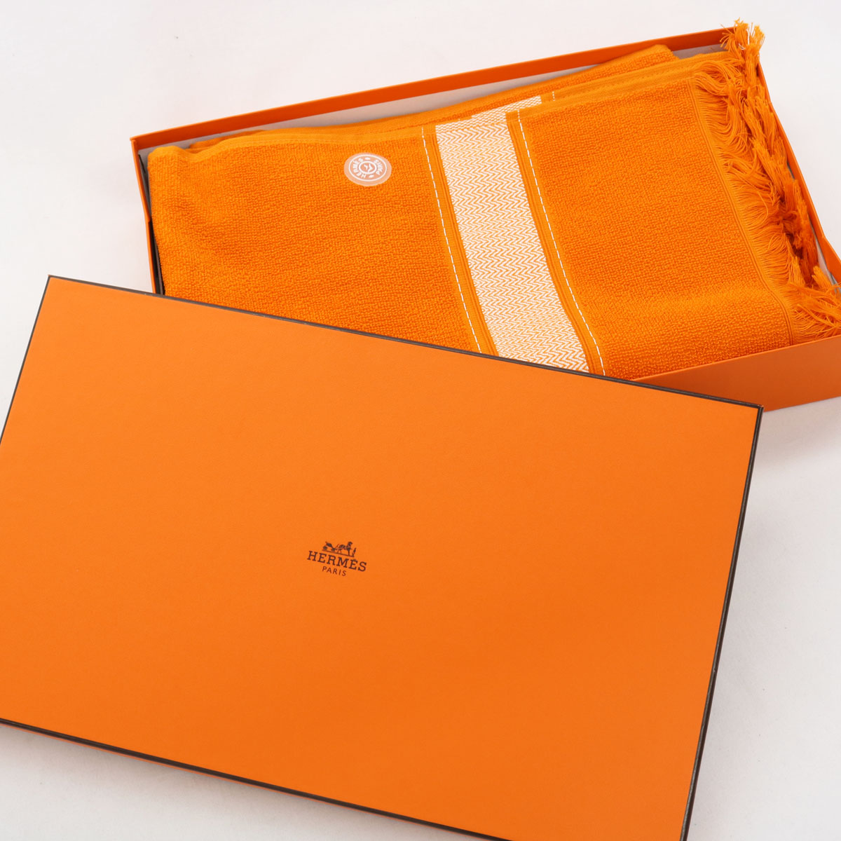 【中古】未使用品☆エルメス HERMES バスタオル 95cm×140 orange /オレンジ ☆ 1695-KY1218
