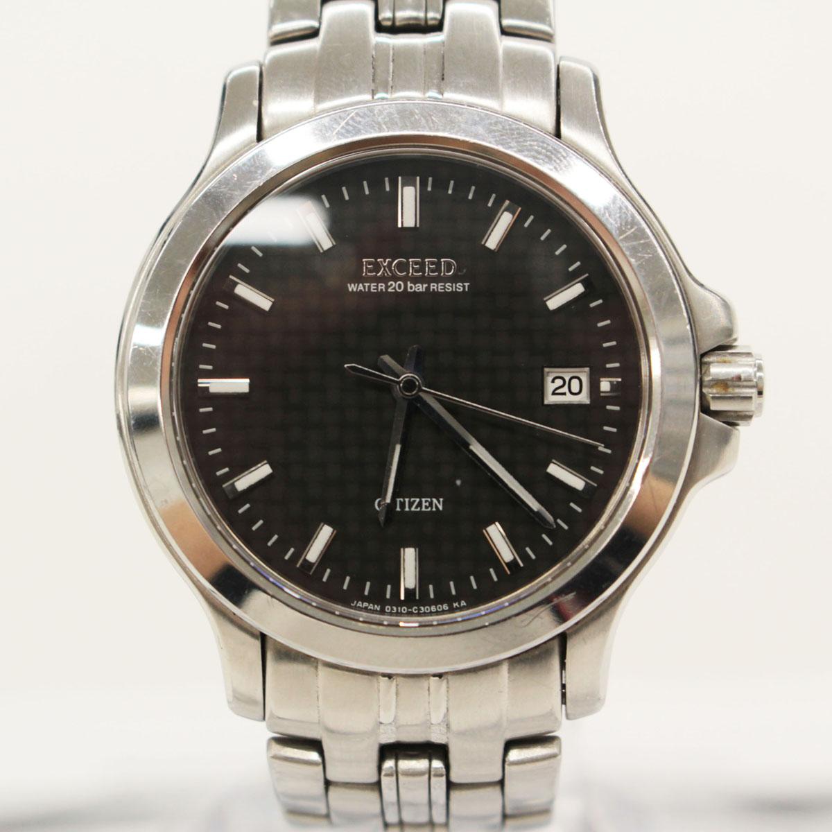 【中古】【電池交換済 稼働品】シチズン EXCEED 3針デイト クォーツ腕時計 シルバー×ブラック 0310-C30498 メンズ  20137-CH1218