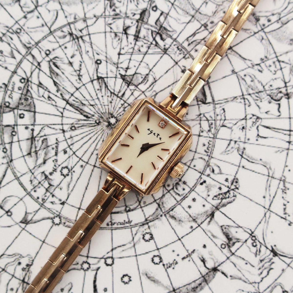 【中古】【電池交換済 稼働品】agete アガット SILVER GP クォーツ腕時計 チェーン取れ ピンクゴールド  20140-CH1218
