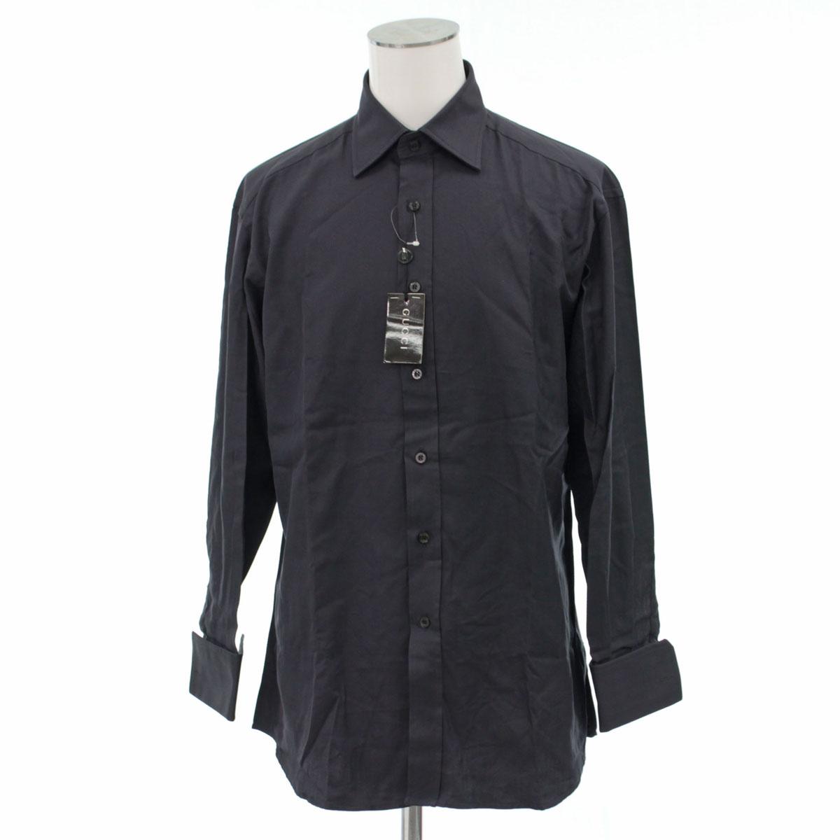 【中古】【タグ付き 未使用品】GUCCI グッチ 長袖ドレスシャツ サイズ40 メンズ 綿 グレー 20713-CH1901
