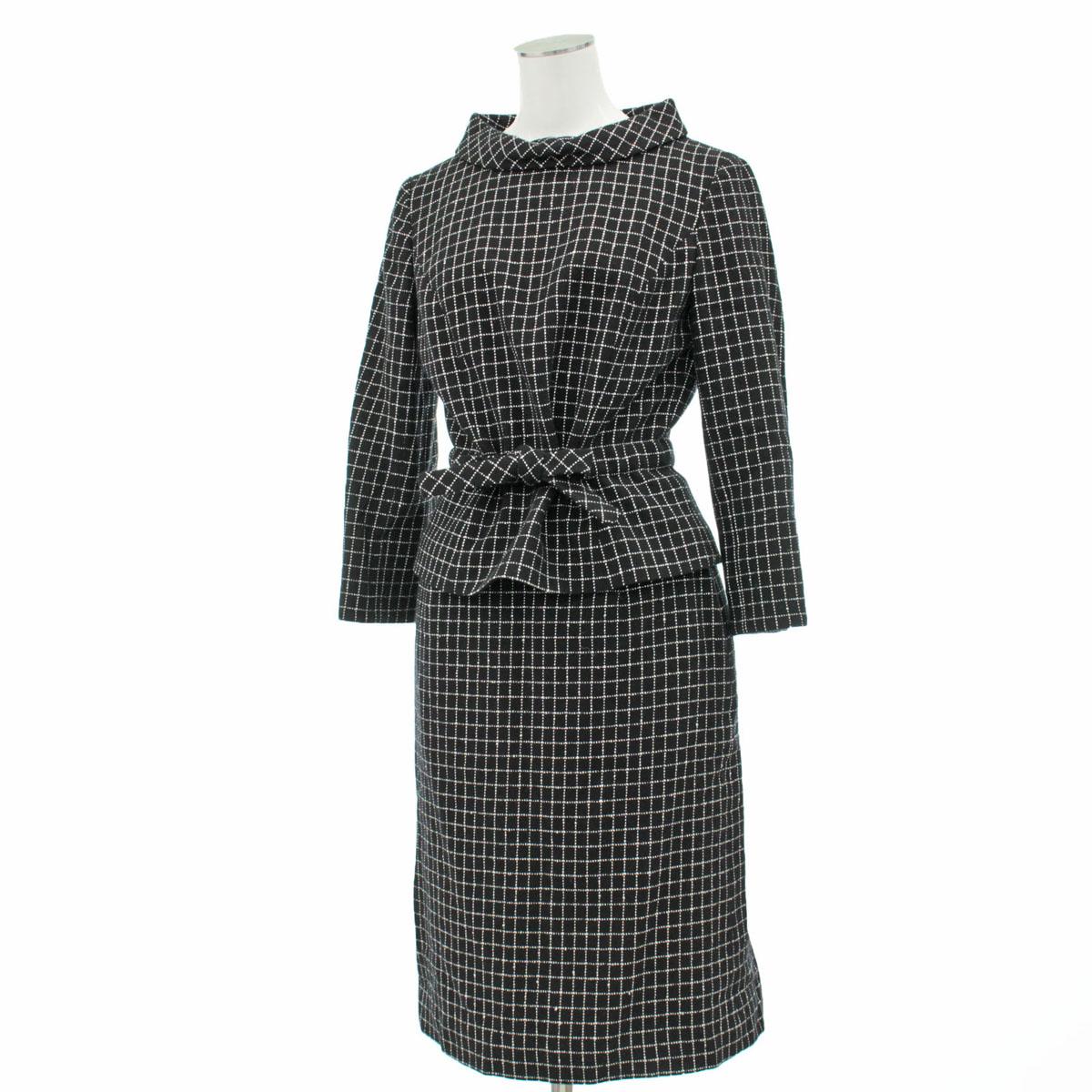 【中古】良好★M'S GRACY エムズグレイシー 格子柄 スカートスーツ サイズ38 ブラック×ホワイト★  21841-CH0119