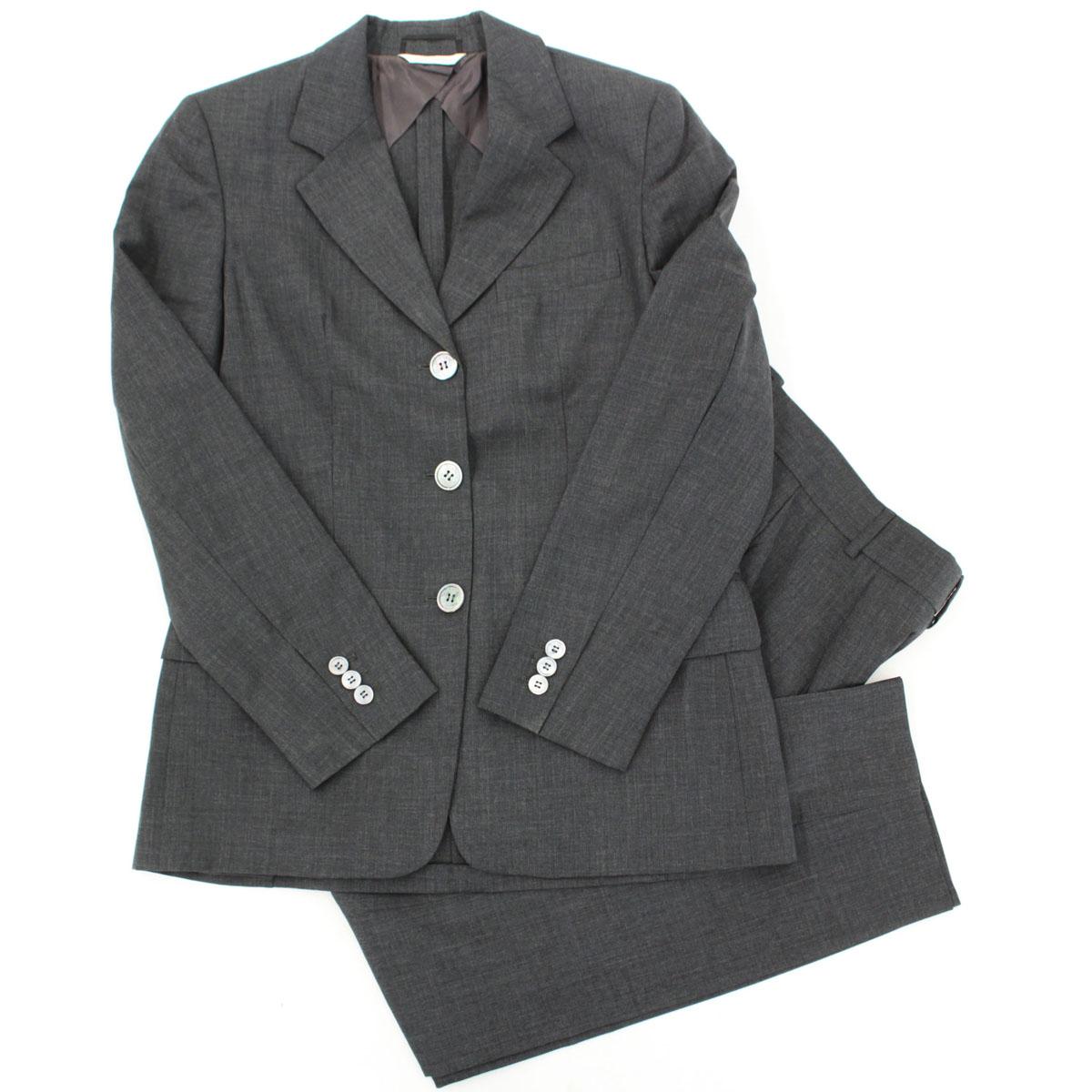 【中古】★MaxMara マックスマーラ ウール100% パンツスーツ サイズ38★  grey /グレー/セットアップ/ビジネス/M相当/22623-RH0419