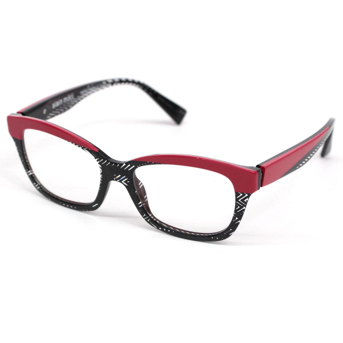 【中古】☆alain mikli アランミクリ A01249 ツートンカラー眼鏡 バネ蝶番 50mm☆  ブラック×クリア×レッド/メガネ/26042-RH0419