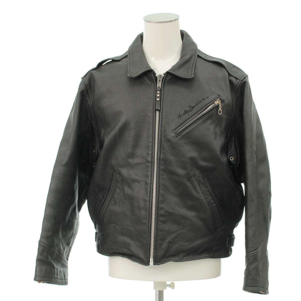【中古】◆HARLEY DAVIDSON ハーレーダビッドソン シングルライダースジャケット Mサイズ◆ 黒/ブラック/レザー/革ジャン/バイク/メンズ/アウター