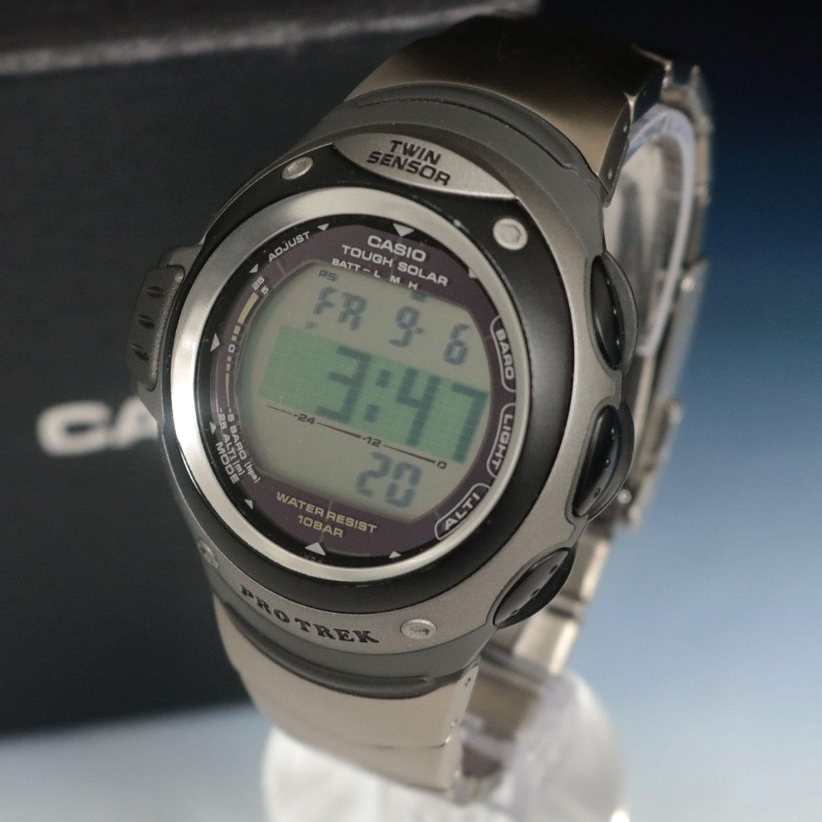【中古】稼働品◆CASIO カシオ プロトレック PRG-100TJ 電波ソーラー 腕時計◆ グレー×シルバー/タフソーラー/メンズ/TWIN SENSOR
