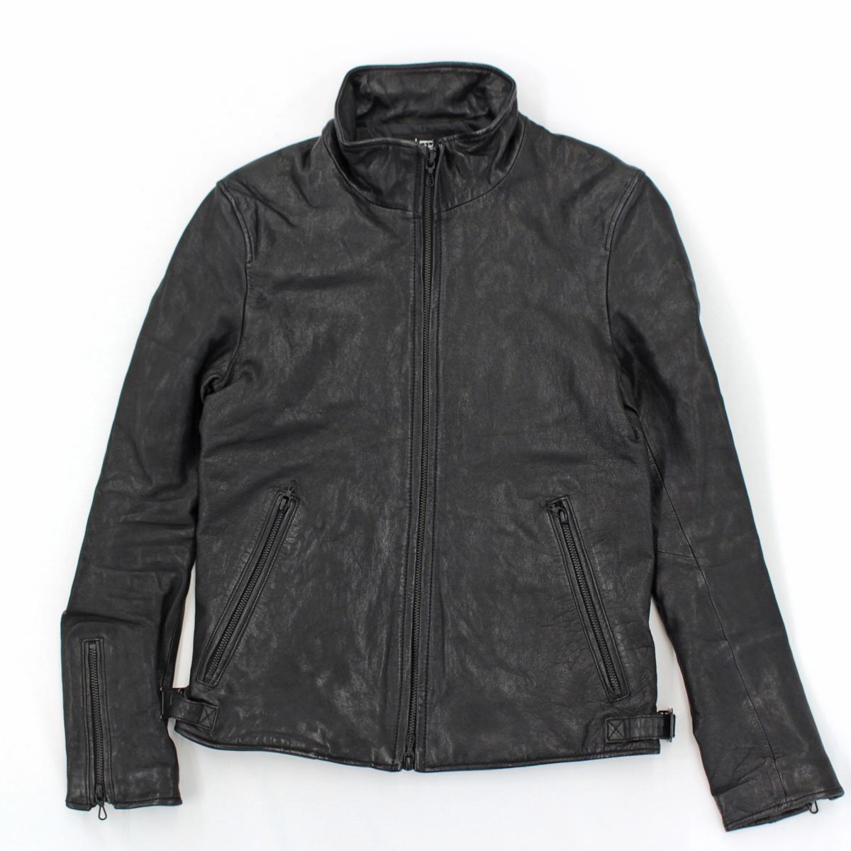 【中古】良好◆ナノユニバース レザージャケット サイズS◆ ブラック/黒/やぎ革/nano universe/メンズ/秋/冬/アウター