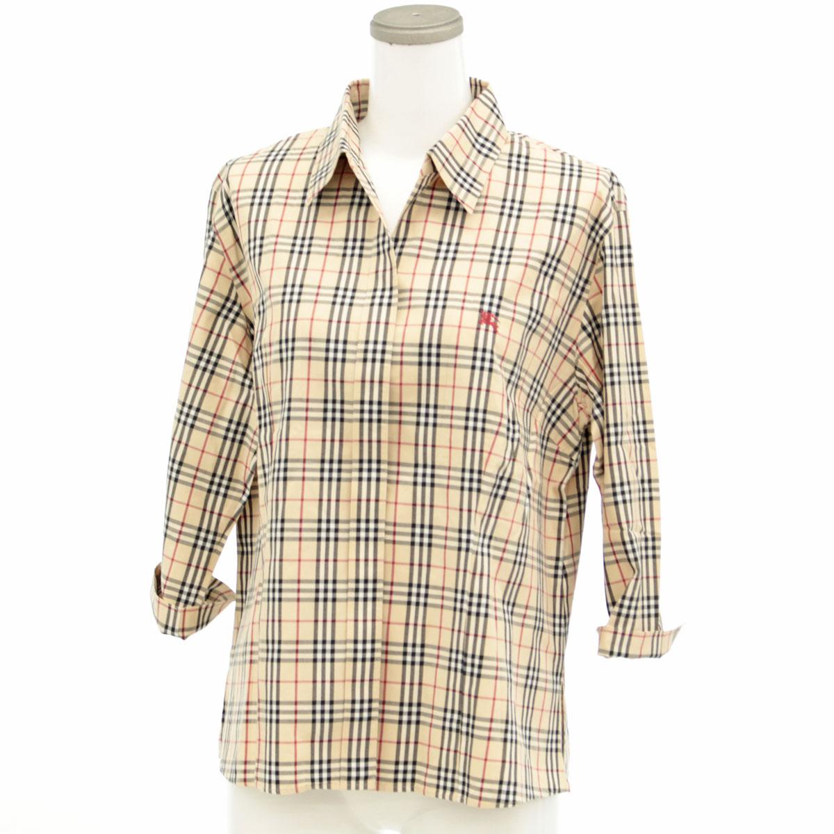 BURBERRY バーバリー チェック柄 七分袖 シャツ ブラウス サイズ13beigeベージュ レディース トップス ホース刺繍 コットン80PwknO