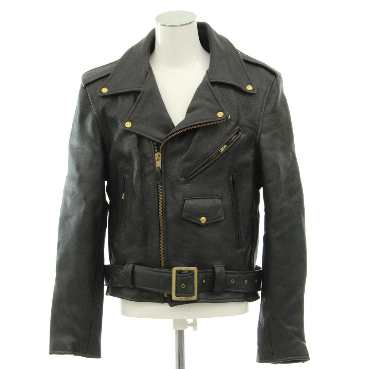 【中古】◆ブランデッドガーメンツ ダブルライダースジャケット サイズ42◆ブラック/黒/USA製/大きいサイズ/革ジャン